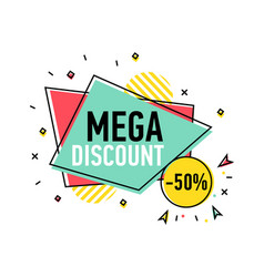 mega discount sticker in trendy linear style vector image