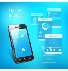 Mobile phone with elements for the user interface vector