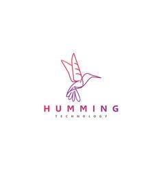 Modern technology hummingbird logo with a line vector
