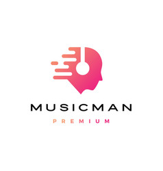 music man human head with headphone logo icon vector image