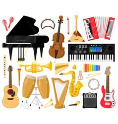 musical instruments cartoon music band vector image