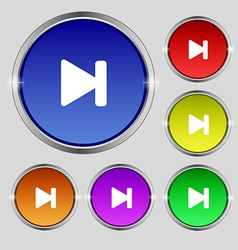 Next track icon sign Round symbol on bright vector
