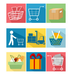Nine shopping items vector