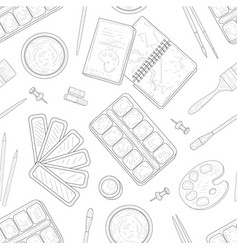 painter tools seamless pattern art supplies vector image