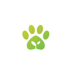 paw leaf organic pet food logo icon vector image