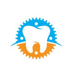 Pediatric dentistry gear logo icon vector