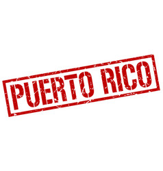 Puerto rico red square stamp vector