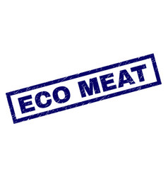 Rectangle grunge eco meat stamp vector