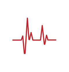 Red heartbeat line isolated on white background vector