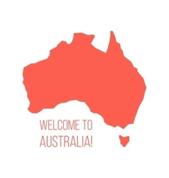 Red silhouette of Australia with inscription vector
