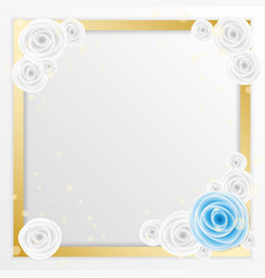 rose flower greeting card with square space to vector image