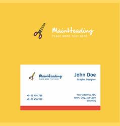 scissor logo design with business card template vector image