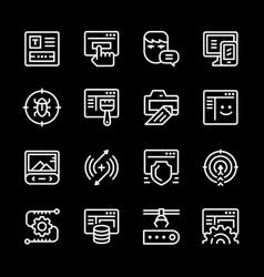 set line icons web development vector image