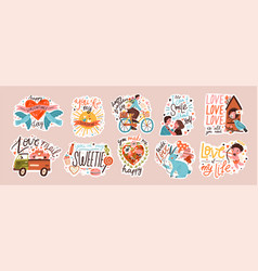 set valentines day doodle sticker flat vector image