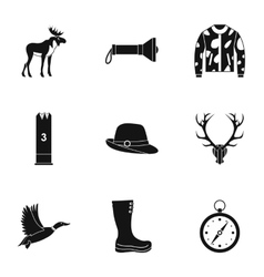 Shooting at animals icons set simple style vector image