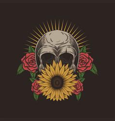 skull flower decoration vector image
