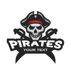 Skull pirates and swords mascot logo vector