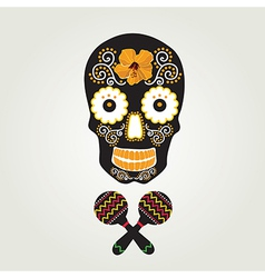 Skull with ornament vector image