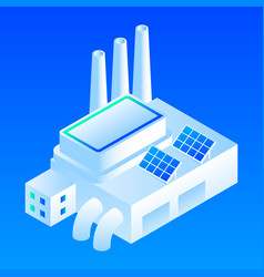 Solar panel smart building icon isometric style vector