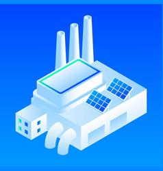 solar panel smart building icon isometric style vector image