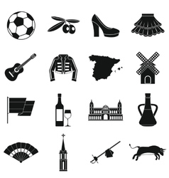 Spain travel icons set simple style vector