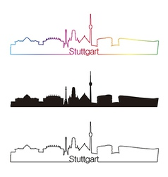 stuttgart skyline linear style with rainbow vector image