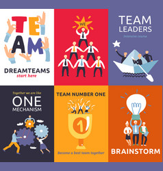 Teamwork cards set vector