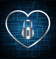 Technology cyber security lock love heart vector