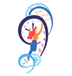 time concept clock dial and hands management and vector image