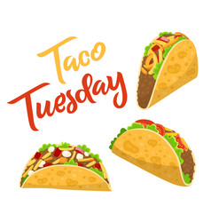 Traditional taco tuesday poster with delicious vector