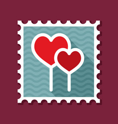 Two red heart lollipops stamp vector