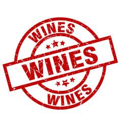 Wines round red grunge stamp vector