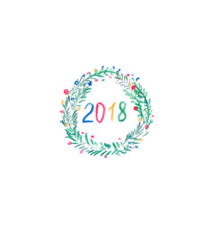 winter wreath for merry christmas and happy new vector image