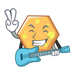 with guitar hexagon mascot cartoon style vector image