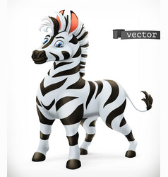 Zebra cartoon character funny animal 3d icon vector