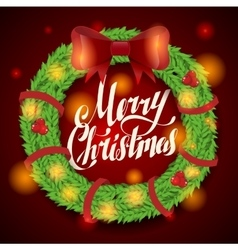 Christmas greeting card and background wreath vector image