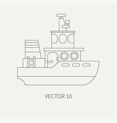 line flat retro icon comercial tugboat vector image
