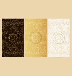set of flyers in golden color with logo vector image