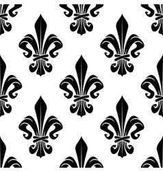 Black and white royal fleur-de-lis pattern vector