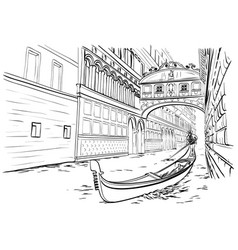 bridge of sighs venice sketch vector image