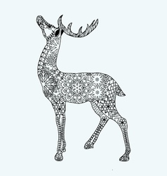 Christmas deer for adult anti stress Coloring Page vector image vector image