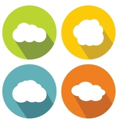 Cloud flat icons on color background with long vector image vector image