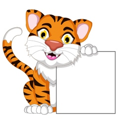 Cute tiger cartoon posing with blank sign vector image vector image