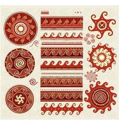 Folk ornaments elements vector image