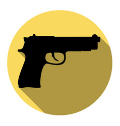gun sign flat black icon vector image vector image