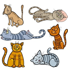 happy and sleepy cats cartoon set vector image