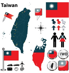 Map of Taiwan vector image vector image