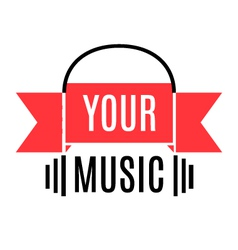 Music logo with stylized headphones and ribbon vector image