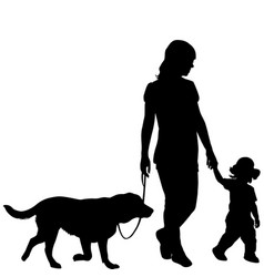 silhouettes of woman with kid and dog vector image