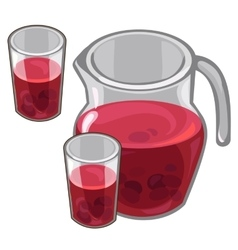 Jug with red berry compote and filled glasses vector image vector image